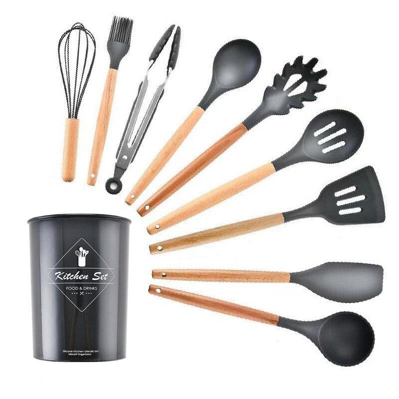 9 قطعة مجموعة أدوات المطبخ سيليكون طقم أدوات الطبخ المنزلية غير عصا ملعقة مجرفة مقبض خشبي صندوق تخزين أدوات مطبخ
