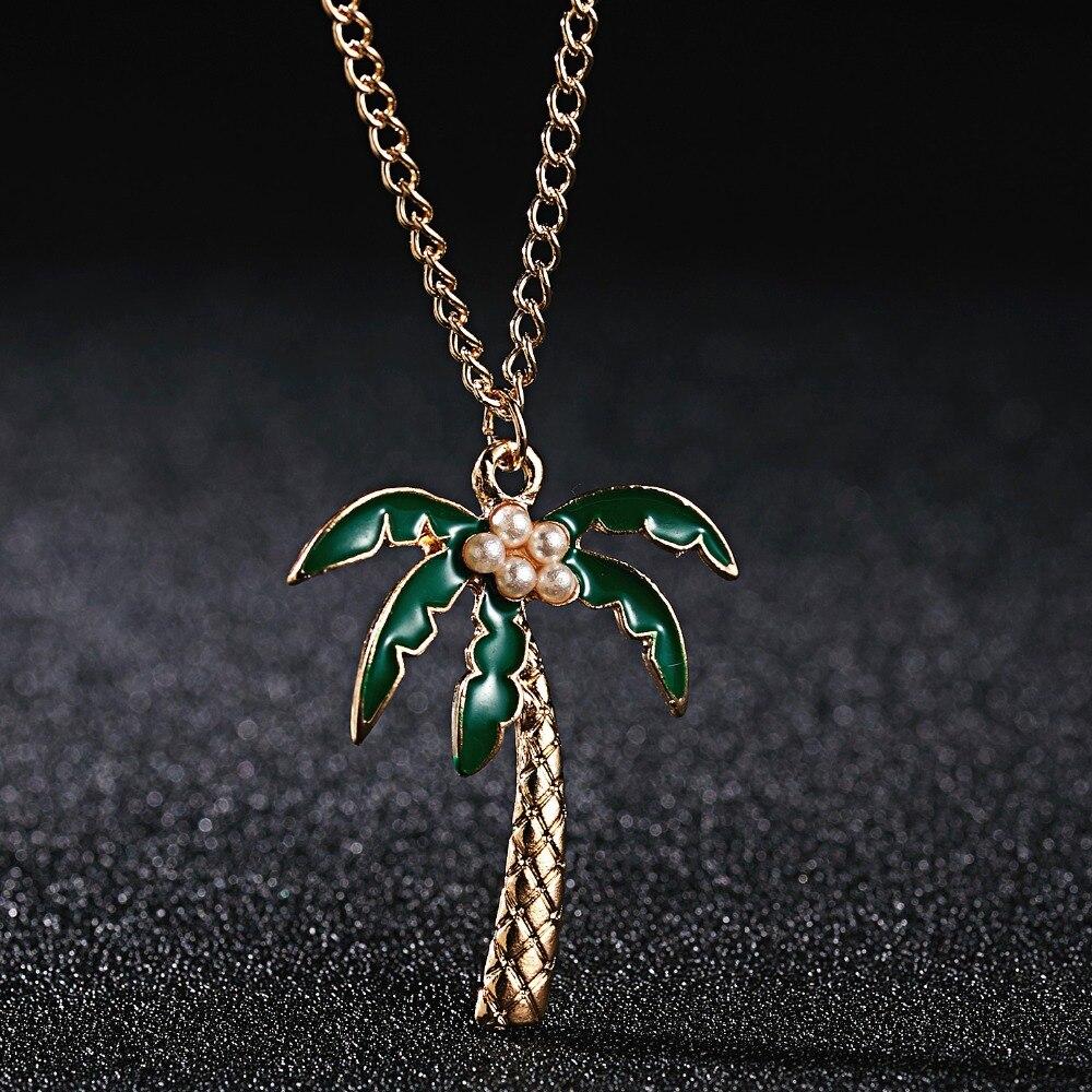 Collar con colgante elegante de plantas de Cactus en maceta con bonito dibujo de perlas esmaltadas de cocotero collar de hojas para joyería de mujer