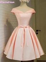 flush homecoming dress off shoulder v neck aline bow satin simple lace up back dances cocktail party dress