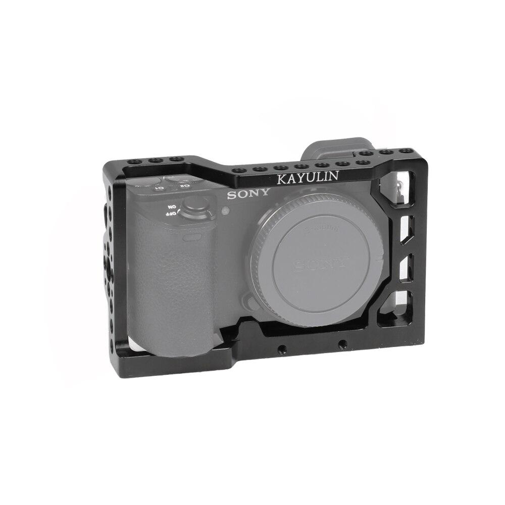 Kayulin, jaula para cámara Dslr A6500 para Sony A6500 con soporte para zapata fría, 1/4 orificios de rosca para micrófono, luz de Flash, opciones DIY