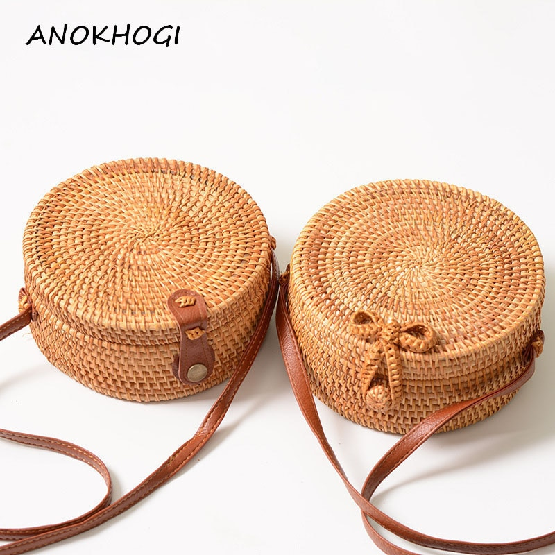 Vintage artesanal feminino rattan saco tecido arco sacos de ombro praia palha saco mensageiros b161