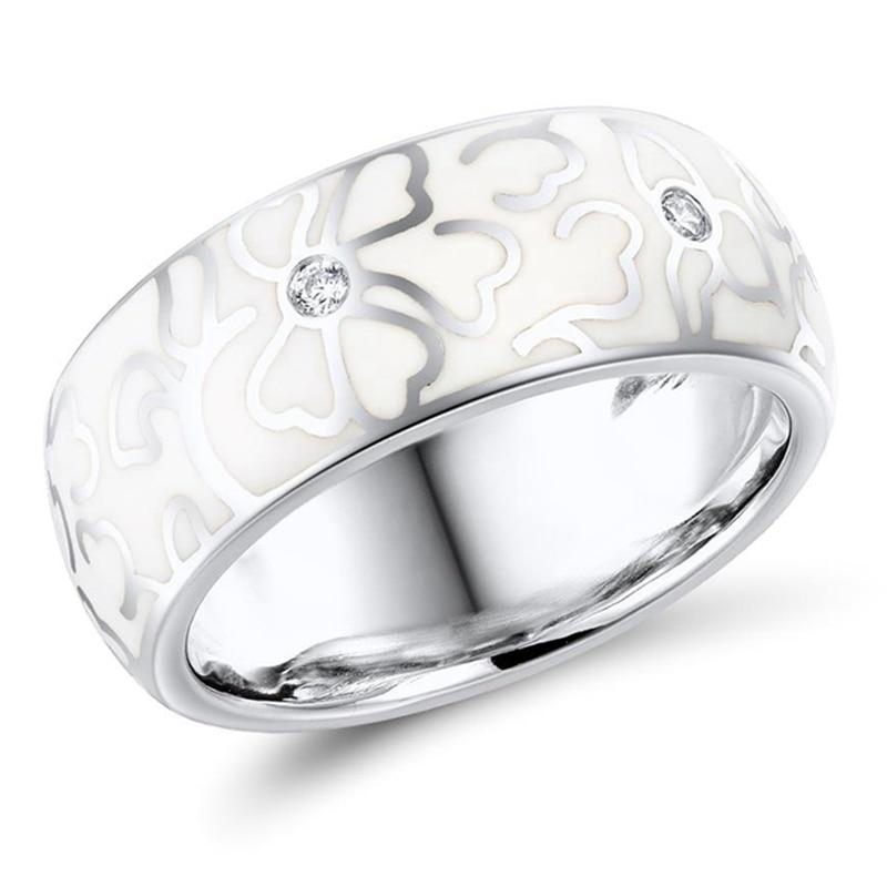 Personalized Retro Handmade Ceramic  Ring For Women Elegant White Flowers Imitation Porcelain Ring Wedding Party Jewelry