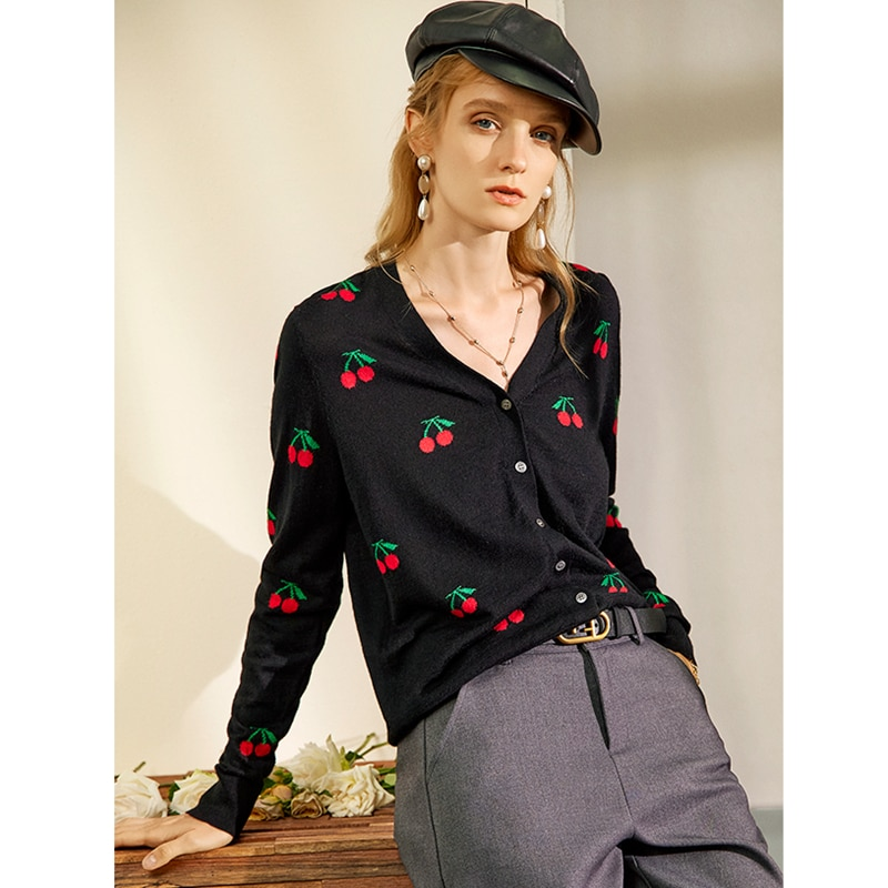 Cardigan Women 100% Wool Knitted Cherry Embroidery V Neck Long Sleeves 2 Colors Casual Style Thin Jacket New Fashion enlarge
