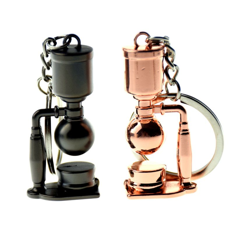 Creativo llavero de seguridad de café de Barista, aparato para café en forma de llavero, llavero de Metal portátil para Espresso, accesorios de regalo
