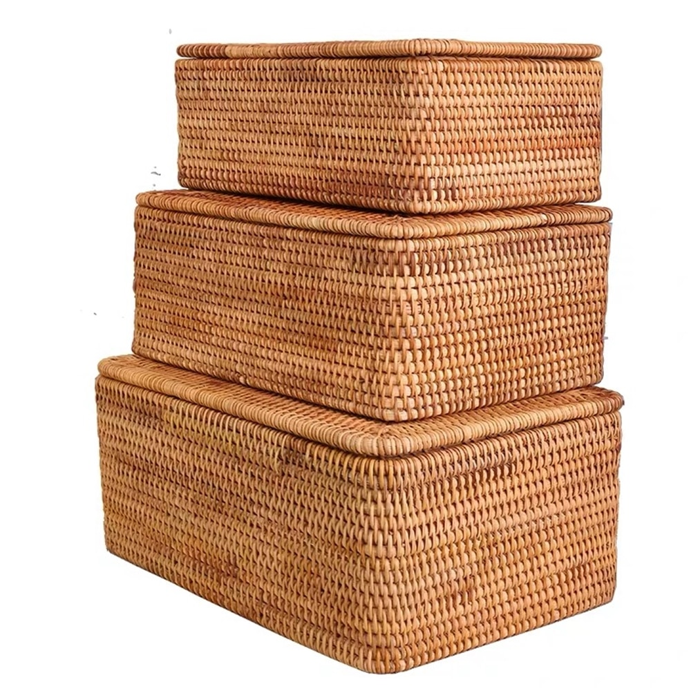 Laundry Basket Wicker Large with Cover Rattan Woven Rattan Storage Basket with Lid for Dirty Clothes Toys Sundries Storage Box folding laundry basket for kids toy book storage basket sundries clothes organizer large capacity storage box with lid