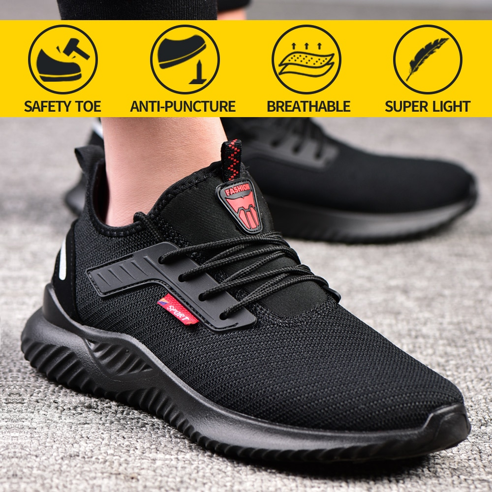 Work Safety Shoes Anti-Smashing Steel Toe Puncture Proof Construction Lightweight Breathable Sneakers Boots Men Women Air Light недорого