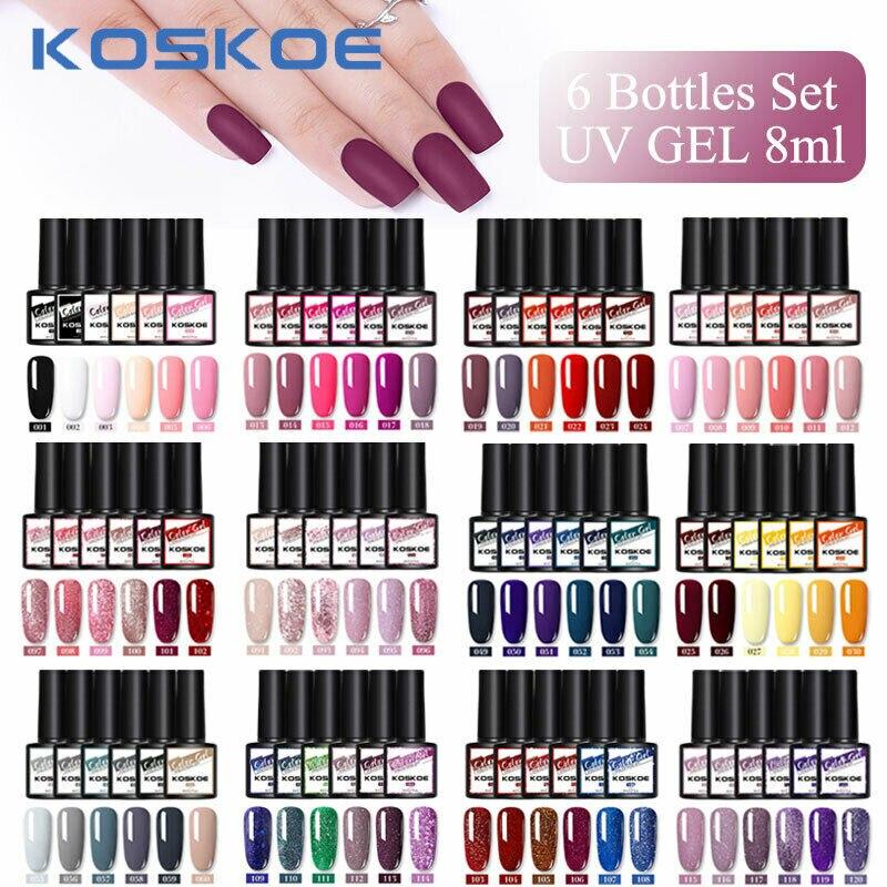 Kit Gel Unha Polonês Conjunto Gel 6 PÇS/SET KOSKOE Definido Para Vernizes Manicure Lantejoulas Glitter Soak Off Gel UV para Nail Art Design