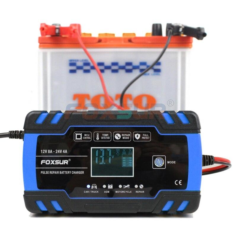FOXSUR 12V 24V Lead Acid AGM GEL WET EFB Car Motorcycle Battery Charger, Smart Battery Charger, Pulse Repair Battery Charger