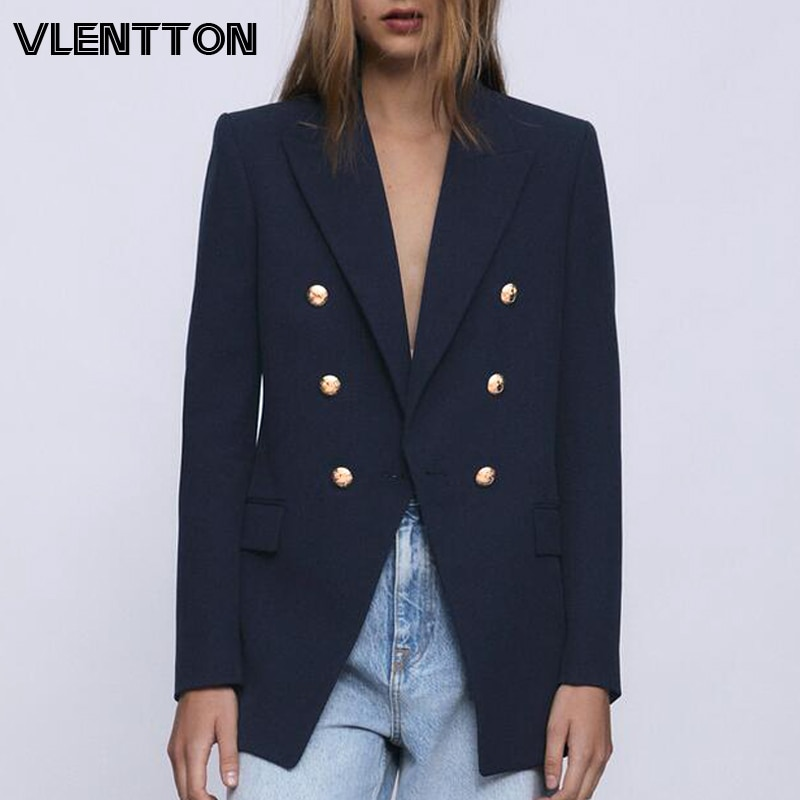 Primavera otoño mujer moda Vintage Blazers abrigo Chic botón sólido traje chaquetas prendas de vestir femeninas Tops Oficina señora Blazer femenino