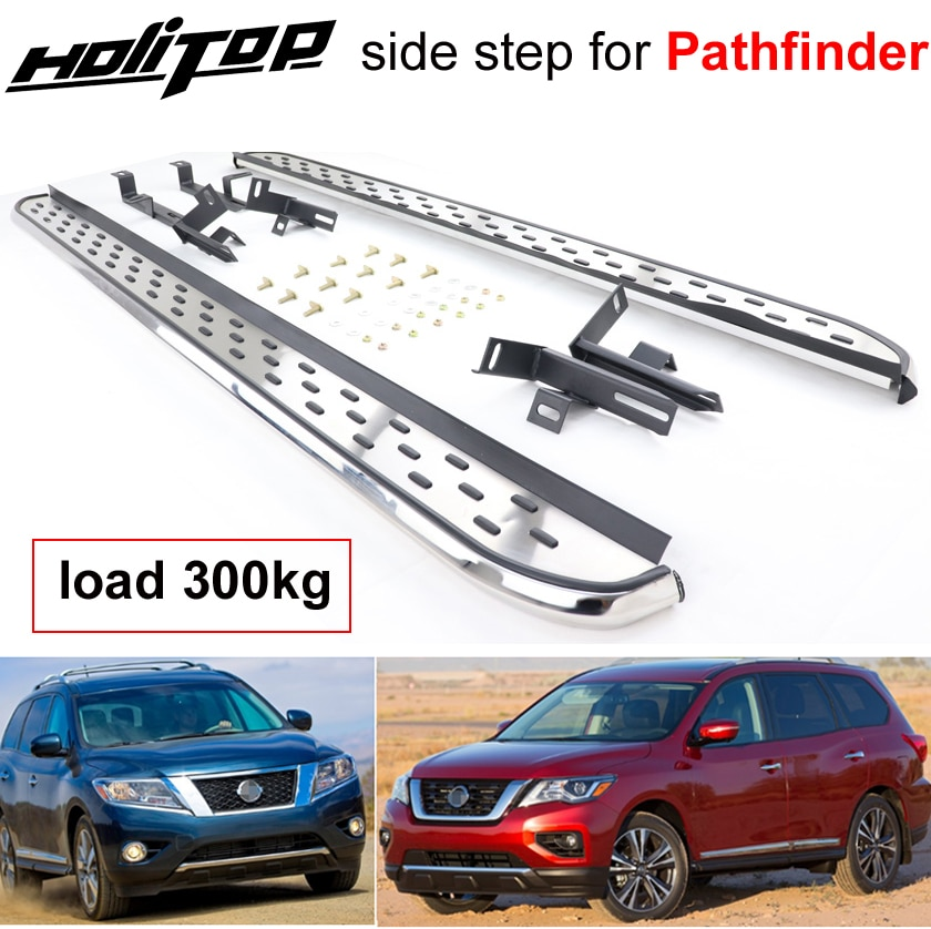 Tabla de correr de barra lateral King de carga de 300kg para Nissan Pathfinder 2013-2020,70% aleación de aluminio + 28% Acero inoxidable + 2% ABS.