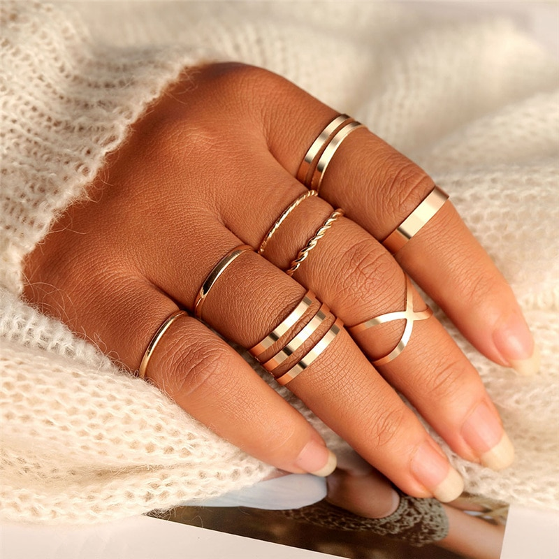 Conjunto de anillos geométricos con diseño Original para mujer, sortija abierta con giro cruzado, joyería femenina