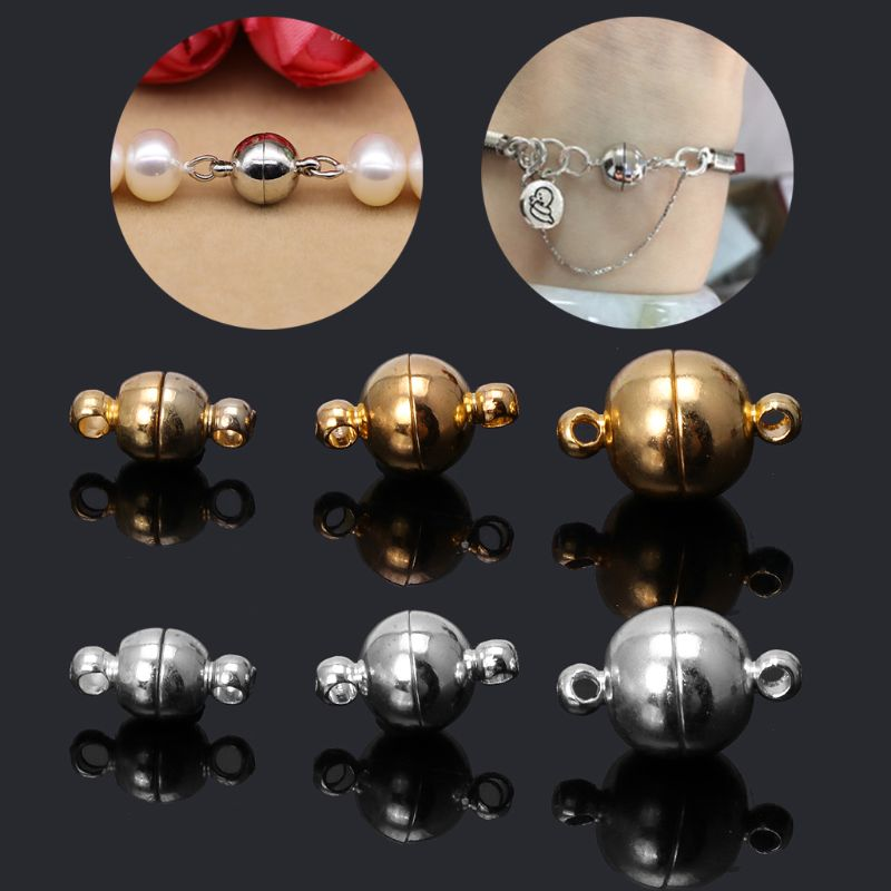 10pcs Stainless Steel Ball Shape Magnetic Clasp Converter for Jewelry Making