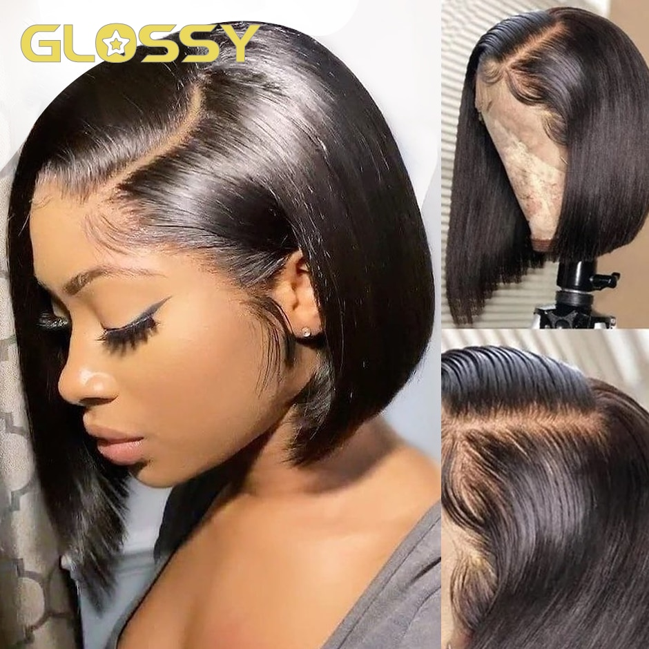 Short Bob Wigs Straight Lace Front Human Hair Wigs For Women Preplucked With Baby Hair Lace Frontal Wig Glueless Closure Wig