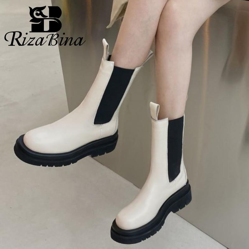 ريزابينا حجم 33-43 النساء منتصف العجل الأحذية الجلد الحقيقي مزيج اللون أحذية بوت قصيرة النساء موضة كول أحذية الشتاء احذية نسائية