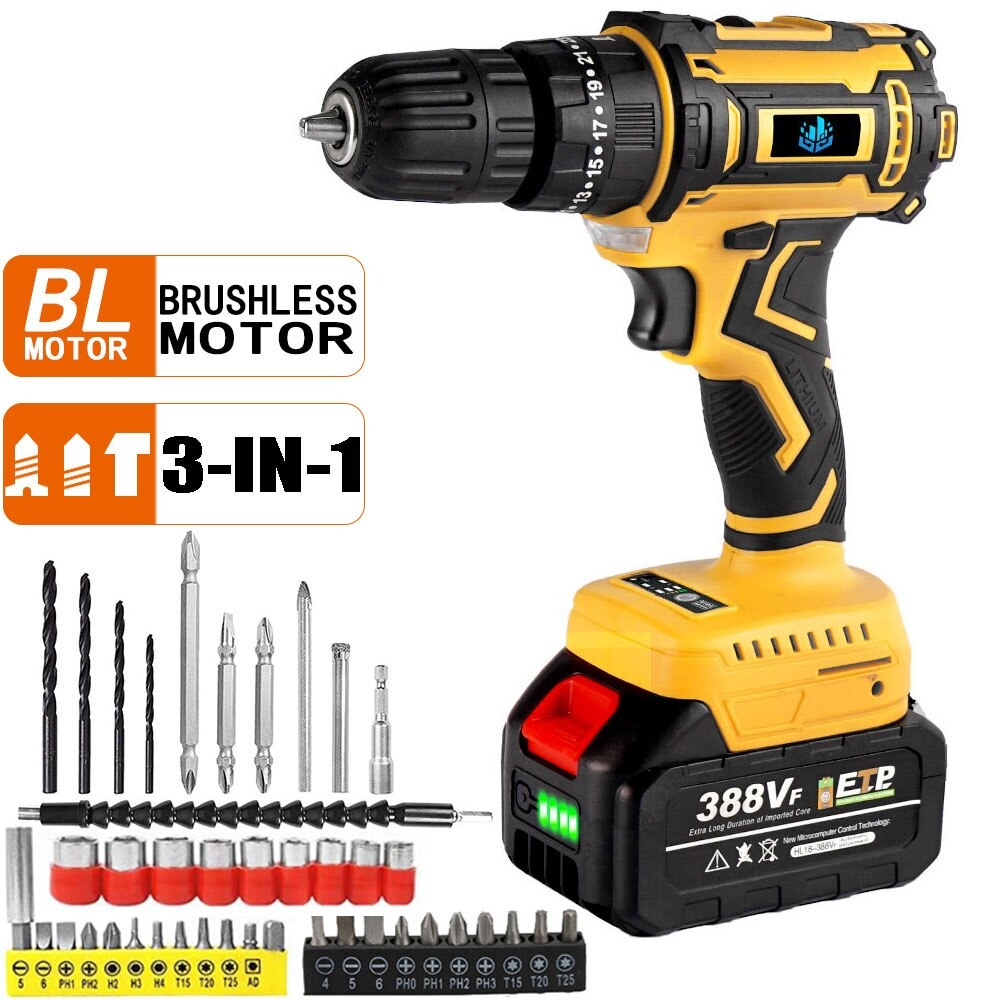 cordless drill 21v power tools 3 in 1 with impact function rotary tool electric screwdriver 20V Brushless Electric Drill Cordless Electric Screwdriver Mini Electric Impact Drill 50N.M 3 in 1 Household DIY Power Tools