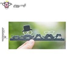 Piggy Craft metal cutting dies cut die mold Mens hat glasses beard edge Scrapbook paper craft knife mould blade punch stencils