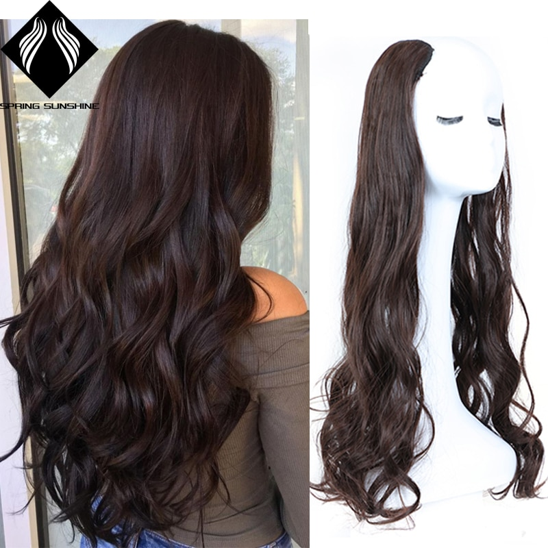 Wavy Straight U-Shaped Half Wig for Women Natural Female Short Black Brown Wigs Heat Resistant Synthetic Fake Hair