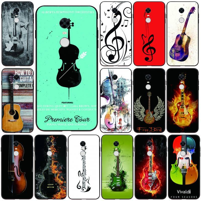 Cassa del telefono della copertura della chitarra del violino musicale del punteggio musicale per Redmi 7A 4X 5 6 7 8 8A 5Plus GO Note 4/4X 7 K20/Pro custodie