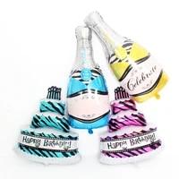 new 1pcs cartoon blue cake wine bottle baby aluminum balloons birthday party balloons wholesale childrens toys