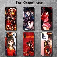 konosuba megumin phone cases for xiaomi mi 6 6plus 6x 8 9se 10 pro mix 2 3 2s max2 note 10 lite pocophone f1