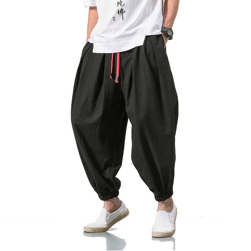 2020  Summer Style Harem Pants Men Chinese Style Casual Loose Cotton Linen Sweatpants Jogger Pants Streetwear Trousers ABZ397