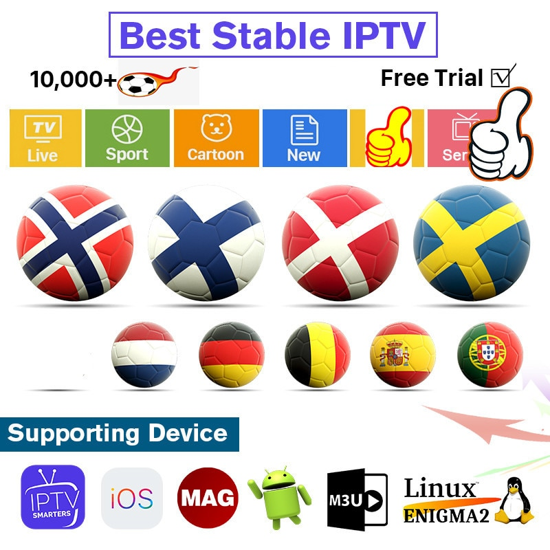 IPTV Suecia Noruega Finlandia IPTV Subscripton 1 año Europa nórdica IPTV Italia Portugal España árabe Alemania Polonia Turquía IP TV