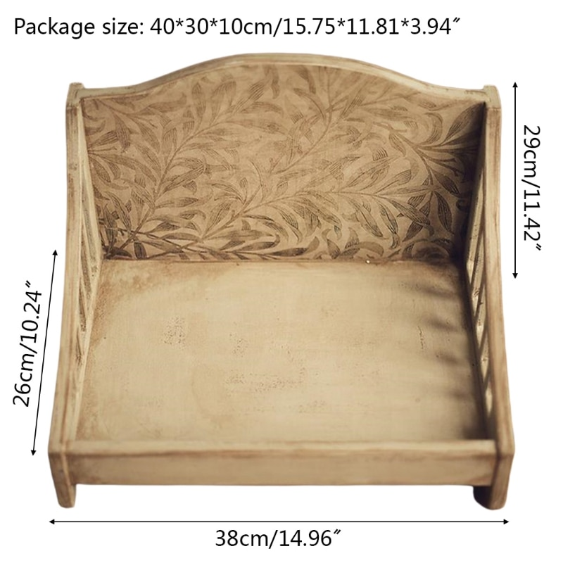 Newborn Posing Wood Bed Sofa Baby Photo Shooting Crib Infant Photograph Props X5XE