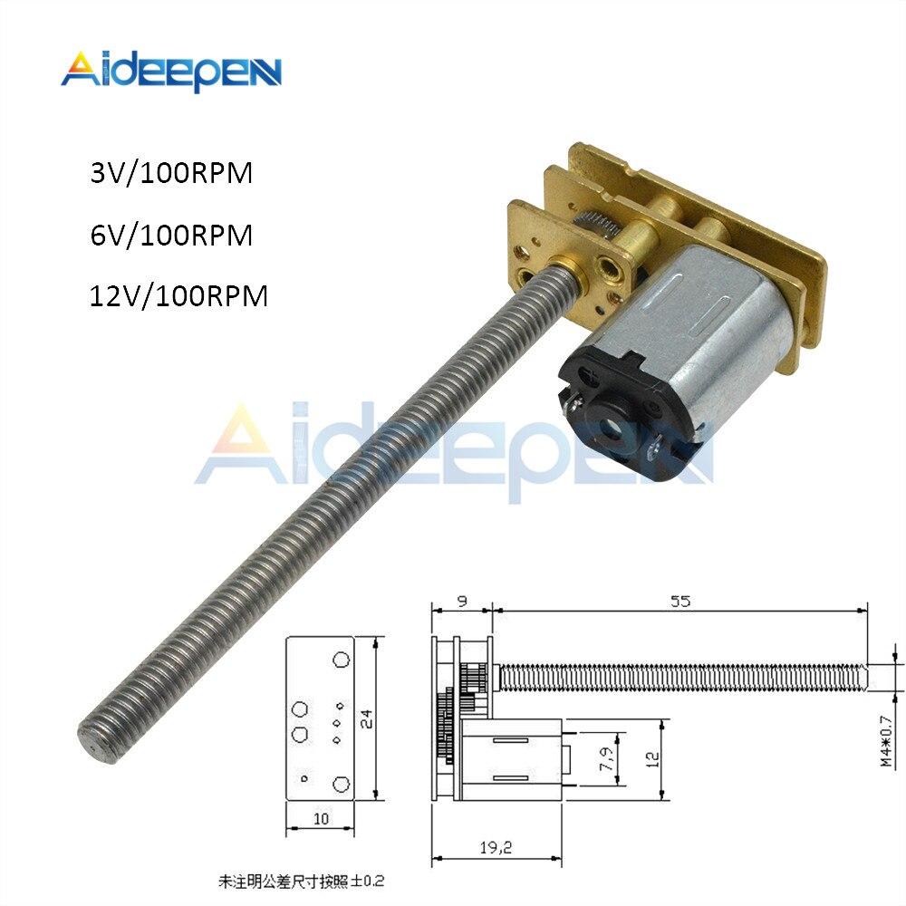 GA1024-N20 DC engranaje Motor 100RPM DC 3V 6V 12V 12V M4 * 55mm Metal de rosca de tornillo varilla M4 100mm de longitud de alto Torque deceleración Micro Motor