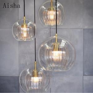 Nordic Glass Ball Led Pendant Lights Modern Kitchen Hanging Lamp Bar Loft Industrial Lamp Dining Living Room Fixtures Home Decor