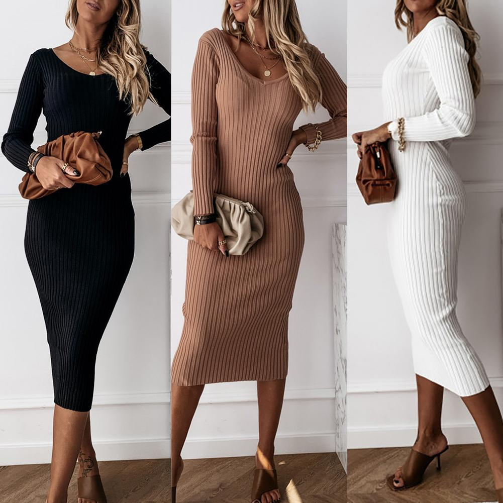 Autumn Winter Dress Women Solid Color V Neck Long Sleeve Ribbed Knitted Bodycon Maxi Dress Sexy Dresses Women Vestidos