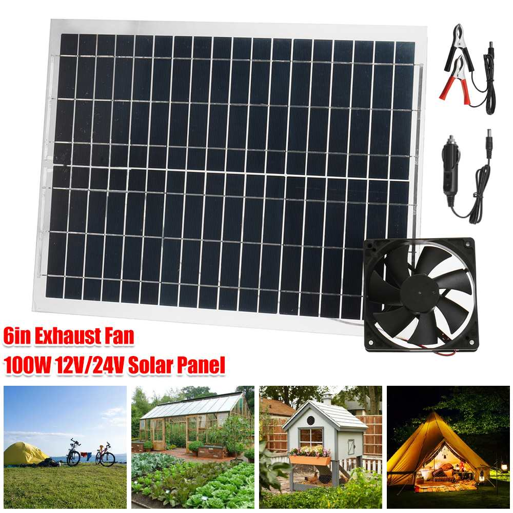 10w solar attic fan vent roof mounted exhaust ventilator 530cfm for greenhouse garage mobile toilet garden residential house 100W Solar Exhaust Fan Air Extractor 6 Inch Mini Ventilator Solar Panel Powered Fan for Dog Chicken House Greenhouse RV
