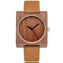 REAL Ebony Wood Dial Case Watch Men Women Couple Square Wristwatch Wooden Reloj Male Female Brown Sandalwood Watches Retro Clock