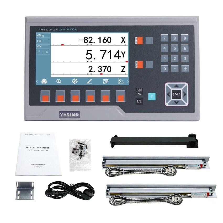 Большой металлический ЖК цифровой индикации YH800-2P набор дисплей Dro комплект с 2 шт. линейные весы линейный кодировщик 5U линии 50 мм до 1000 мм гор...