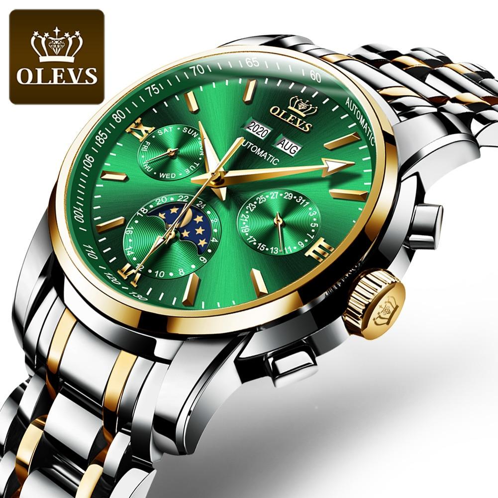 OLEVS-ساعة يد رجالية أوتوماتيكية ، ميكانيكية ، مقاومة للماء ، ستانلس ستيل ، ذكر