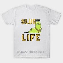 Summer Fit Slim Men T-Shirts 100% Cotton Sportswear Slug Life Mens Cartoon Fun T-shirt