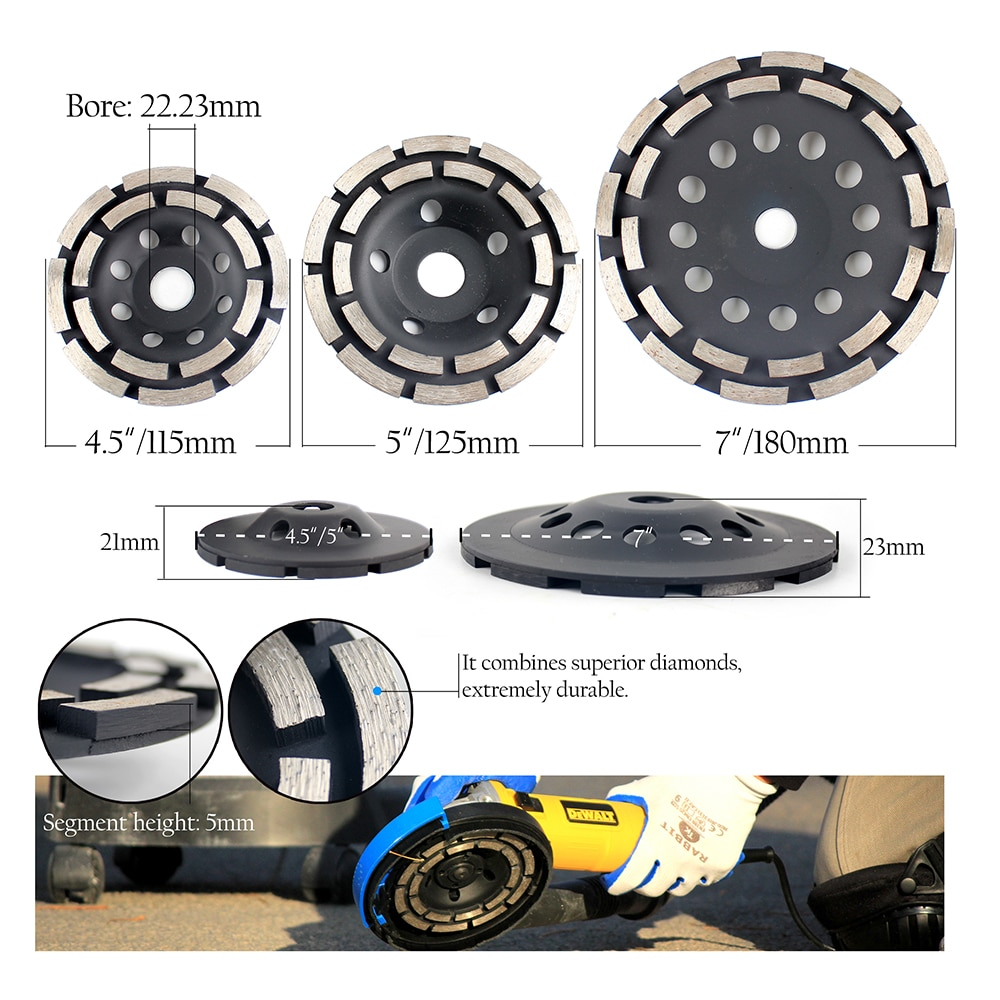 Raizi 5 inch/125 mm Universal Grinding Dust Shroud Kit with Diamond Grinding Disc for Concrete Terrazzo Floor Dust Control Cover enlarge