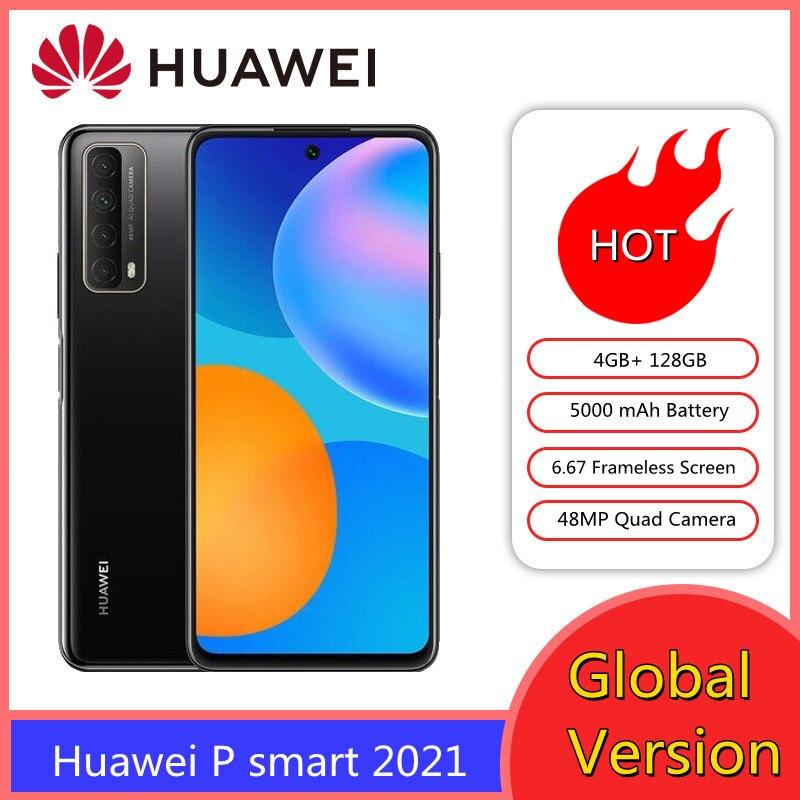 Смартфон Huawei P smart 2021 4 Гб 128 NFC четырехъядерный AI глобальная версия 5000 мАч батарея 6,67 безрамочный экран мобильных телефонов