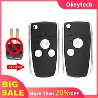 okeytech folding flip remote car key shell for honda accord civic crv pilot fit crv odyssey 2 3 buttons fob blank uncut blade