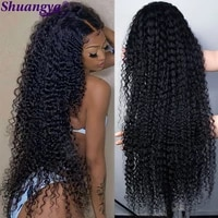 malaysia kinky curly lace front wig 100 remy human hair lace wigs for black women deep curly wave lace hair wigs shuangya