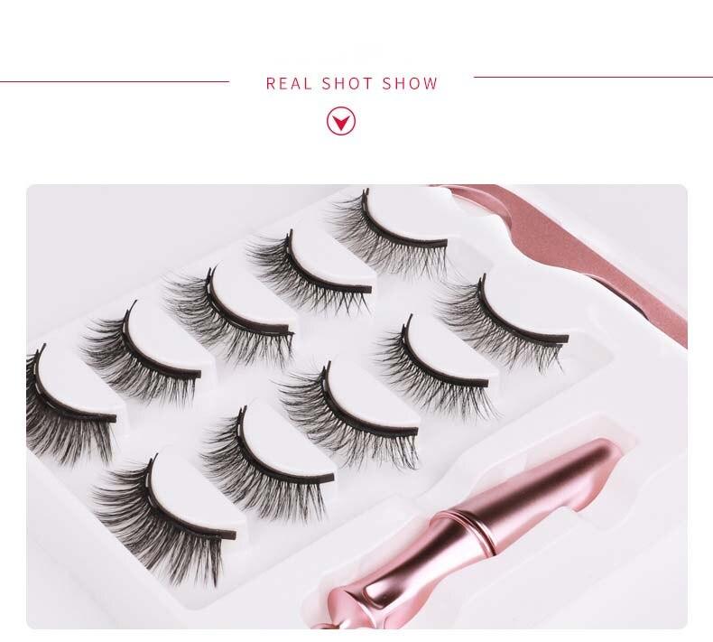 Non-glue false eyelashes set 5 pairs mix models magnetic fake lashes with liquid magnet eyeliner 50sets/lot DHL Free
