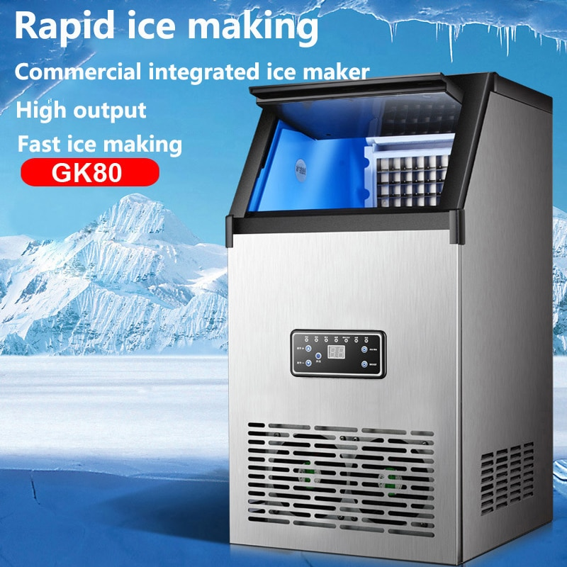 Льдогенератор 80 кг, большая бытовая техника, Интеллектуальный коммерческий автоматический льдогенератор кубиков, Морозильная техника, маш...