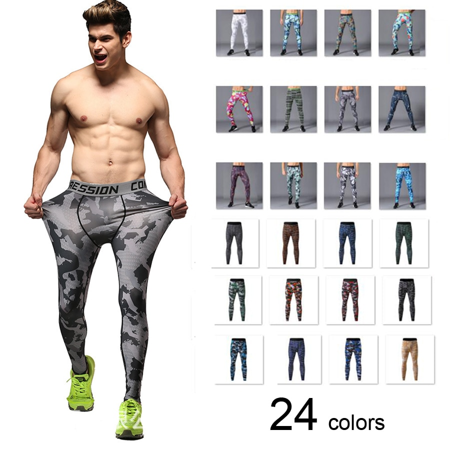 Running Compression Pants Camouflage Men Leggings Tights Basketball Yoga Gym Training Fitness Sports Wear Jogging Soccer Trouser