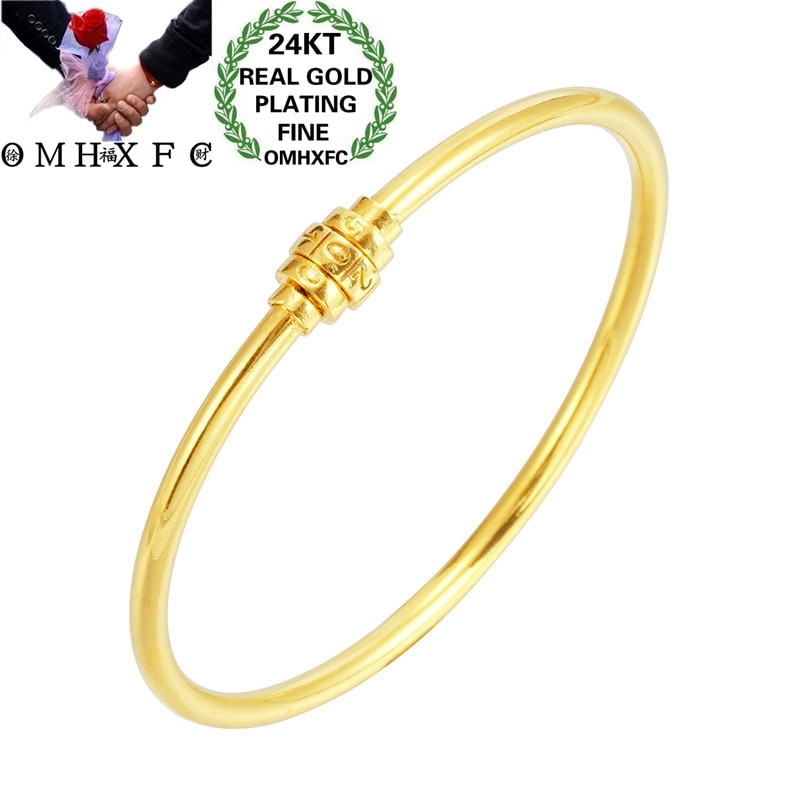 OMHXFC venta al por mayor BE404 moda europea Hot Fine mujer chica fiesta boda cumpleaños regalo Slim 520 Lock pulsera brazalete de oro 24KT