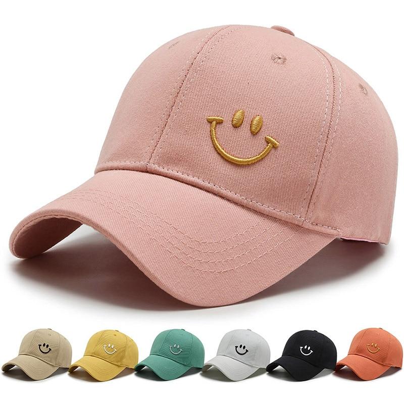 Однотонная бейсболка, женская летняя Солнцезащитная шляпа с вышивкой улыбки, повседневная Регулируемая Мужская Снэпбэк Кепка, бейсболка д...
