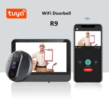 4.3 Inch WiFi Video Doorbell Peephole Viewer Home Security HD Night Vision PIR Motion Detection Tuya Remote Control Door Bell