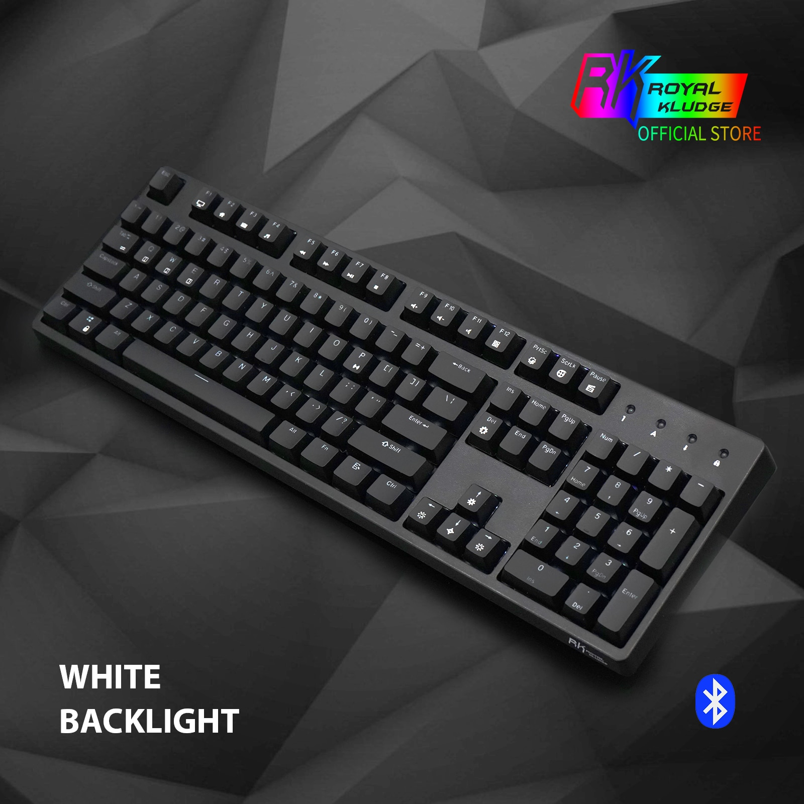Promo RK988 RK ROYAL KLUDGE Dual Mode Wireless/USB Ergonomic White Backlit Mechanical Gaming Keyboard Brown Switch 104 Keys