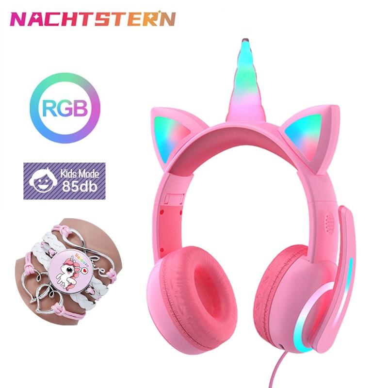 Unicornio chico auriculares luz LED con cable Auriculares auriculares con micrófono de...