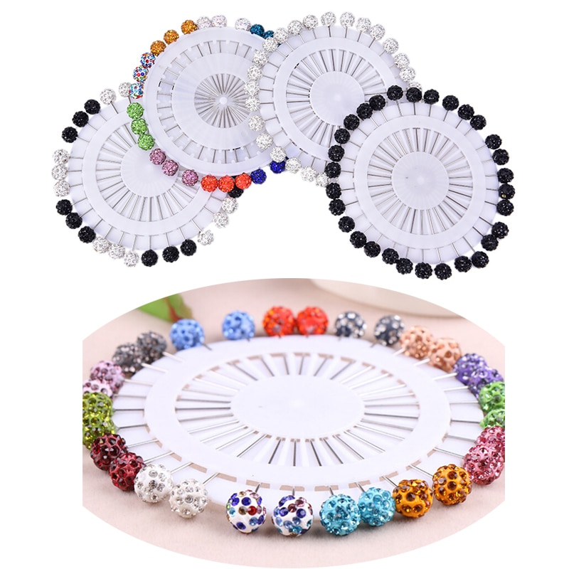 30Pcs  Fashion Crystal Ball Brooch Pin Muslim Hijab Scarf Pins Scarf Clip Wedding Pin For Women Hijab Pins With Hat