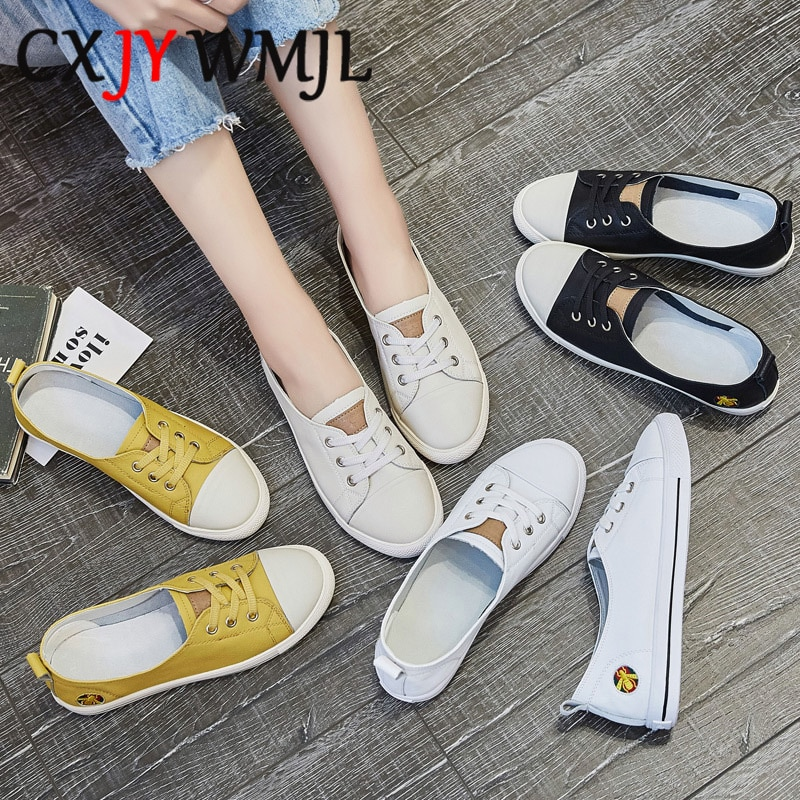 حذاء نسائي كاجوال من الجلد الطبيعي ، حذاء مسطح ، أبيض ، مريح ، سهل الارتداء ، مقاس كبير 42