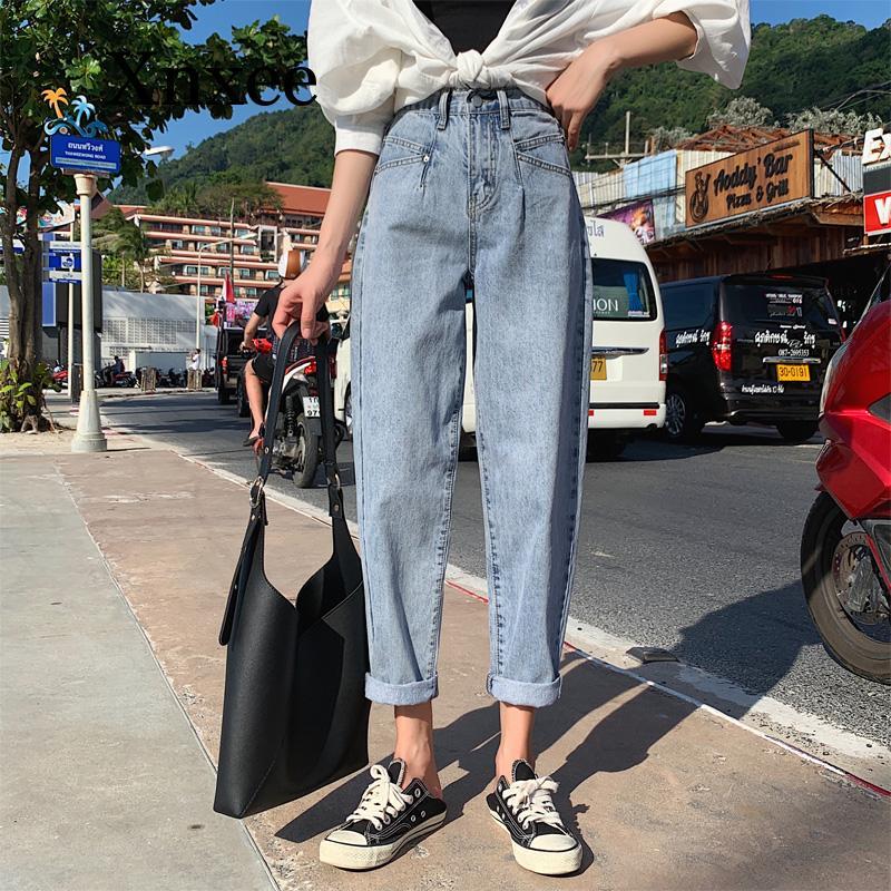 Винтажные синие джинсы, женские джинсы с завышенной талией, женские джинсы, джинсы для весны и лета, повседневные женские джинсы